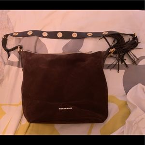 Michael Kors brown suede bucket purse